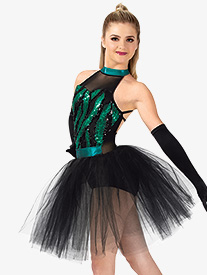 Womens Performance Feather Sequin Tutu Dress