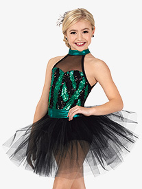 Girls Performance Feather Sequin Tutu Dress