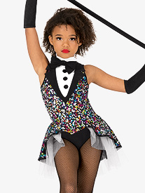 Girls Performance Tuxedo Tank Bustled Leotard