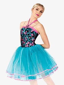 Womens Performance Floral Sequin Halter Tutu Dress