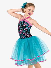 Girls Performance Floral Sequin Halter Tutu Dress