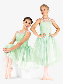 Womens Performance Floral Mesh Overlay Tutu Dress