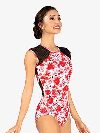 Womens Floral Mesh Cap Sleeve Leotard