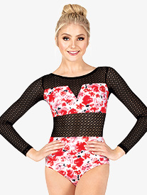 Womens Floral Mesh Long Sleeve Leotard