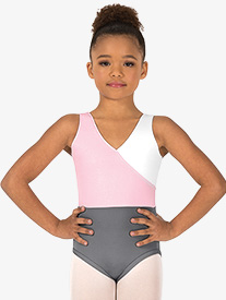 Girls Mock Wrap Block Tank Leotard