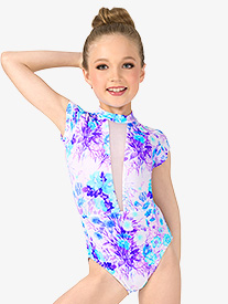 Girls Pastel Flowers Mesh Insert Short Sleeve Leotard