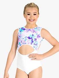Girls Pastel Flowers Cutout Tank Leotard