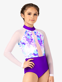 Girls Pastel Flowers Mesh Long Sleeve Leotard