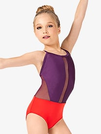 Girls Contrast Crisscross Back Camisole Leotard
