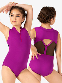 Girls Contrast Mesh Zip Front Tank Leotard