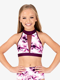 Girls Floral Mesh Halter Dance Crop Top