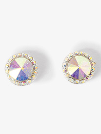 10mm Silver-Plated Post Iridescent Rhinestone Earrings