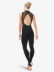 Womens High Neck Zip Up Stirrup Tank Unitard