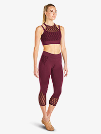 Womens Diamond Mesh Capri Dance Leggings