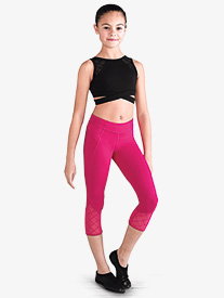 Girls Diamond Heart Mesh Capri Dance Leggings