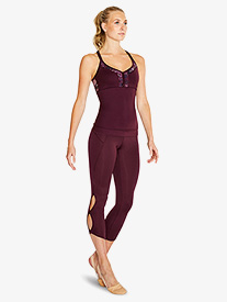 Womens Keyhole 7/8 Dance Leggings