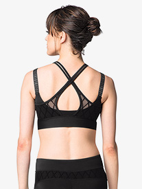 Womens Overlapping Diamond Mesh Dance Crop Top