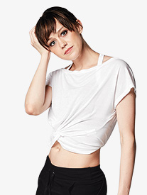 Womens Knotted Front Cap Sleeve Dance Crop Top