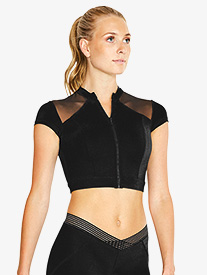 Womens Zip Up Short Sleeve Dance Crop Top
