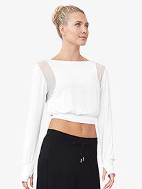 Womens Mesh Panel Long Sleeve Dance Crop Top