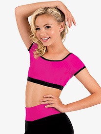 Girls Color Block Cap Sleeve Crop Top