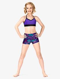 7657cb8f4 Girls Rainbow Zebra Printed Banded Leg Dance Shorts (Style: FW2031C)