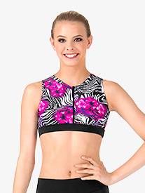 Adult Floral Zebra Printed Zip Front Tank Crop Top