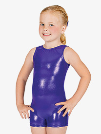 Child Basic Metallic Shorty Unitard