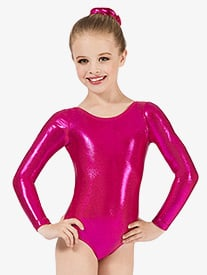 Child Long Sleeve Metallic Leotard