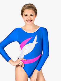 Womens Gymnastics Spliced Colorblock Long Sleeve Leotard
