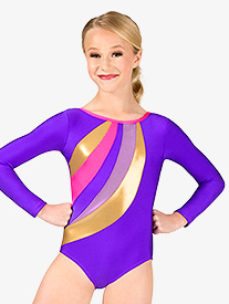Girls Gymnastics Spliced Print Long Sleeve Leotard