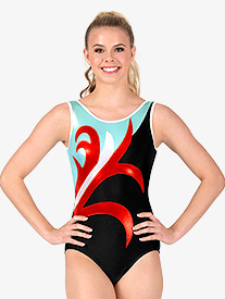 Womens Gymnastics Spliced Pattern Tank Leotard