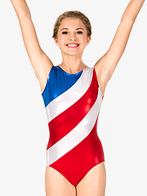 Womens Gymnastics Diagonal Patriotic Print Tank Leotard