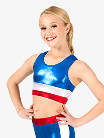 Girls Gymnastics Patriotic Print Tank Bra Top