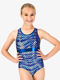 Girls Gymnastics Fish Scale Print X-Back Leotard