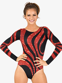 Womens Sequin Swirl Sublimated Print Long Sleeve Gymnastics Leotard