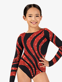 Girls Sequin Swirl Sublimated Print Long Sleeve Gymnastics Leotard
