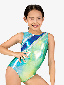 Girls Gymnastics Glitter Print Strappy Back Tank Leotard