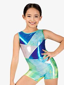 Girls Gymnastics Glitter Print Tank Shorty Unitard