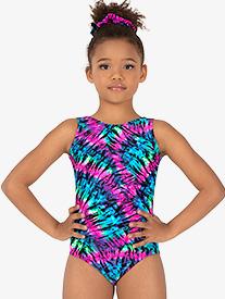 Girls Gymnastics Neon Tie-Dye Tank Leotard