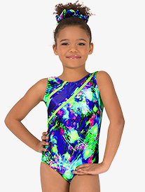 Girls Gymnastics Lime Green Splatter Strappy Tank Leotard
