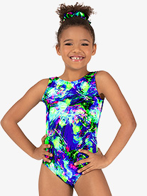 Girls Gymnastics Lime Green Splatter Tank Leotard