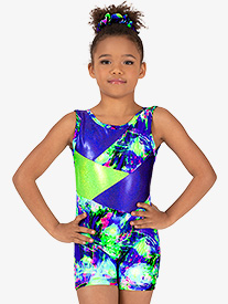 Girls Gymnastics Lime Green Splatter Tank Shorty Unitard