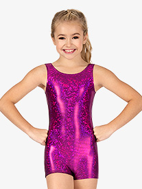 Girls Gymnastics Disco Foil Tank Shorty Unitard