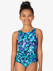 Girls Ink Spot Print Tank Leotard
