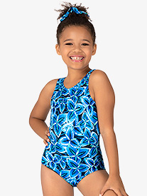 Girls Windmill Print Tank Leotard