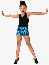 Girls Ink Spot Print Dance Shorts