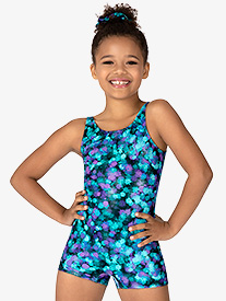 Girls Ink Spot Print Tank Shorty Unitard