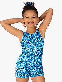 Girls Windmill Print Tank Shorty Unitard