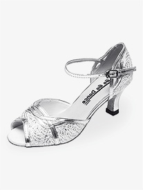 Womens 2.5 Heel Silver Glitter Ballroom Shoes